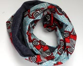 1 Day shipping - Ankara Infinity Scarf, Reversible Cowl Scarf