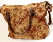 Tapestry Carpet Bag, The Wayfarer Upholstery Purse, Large Roomy Upcycled Purse, Carpet Handbag, Big Purse, Made in NC
