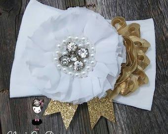Jamine Couture Headband, White Baby Headband,  flower girl headband, Christening headband, white flower headband,