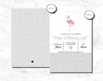Flamingo Girls Birthday Invitation | Printed or Digital Invitation | 6x4, 5x7 | DIY Printable