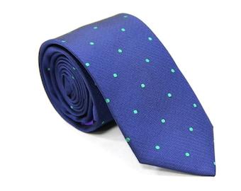 Navy Blue Skinny Tie with Green Polka Dots | Dotted Poka Ties for Men | Spotted Ties for Wedding | Groomsmen Ties