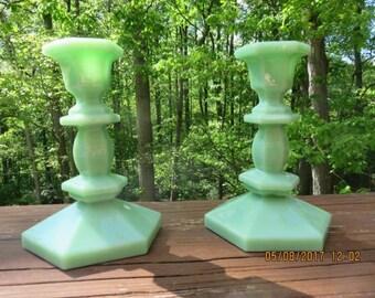 Rare Art Deco Green Opaline Glass Candleholders Set of 2