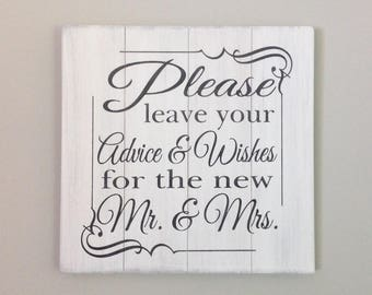 Please leave your advice & wishes for the new Mr. and Mrs. sign wedding sign farmhouse decor wedding decor shabby chic sign shabby chic