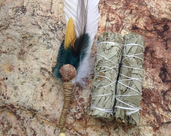 White sage kit- fan feather wand kit-cleansing rituals smudging-home fragrance