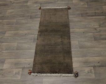 Fine Plain Design Rare Original Gabbeh Modern Persian Rug Oriental Carpet 2X5