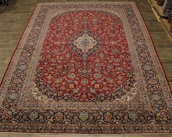 Excellent Handmade Traditional Red Kashan Persian Rug Oriental Area Carpet 10X14