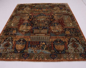 Marvelous Unique Hunting Design Kashmar Persian Rug Oriental Area Carpet 10X13