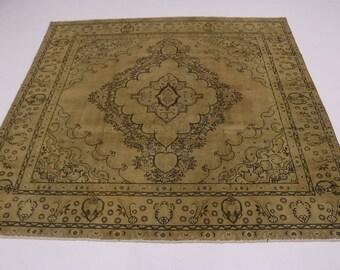 Antique Muted Handmade Square Rare Tabriz Persian Rug Oriental Area Carpet 10X10