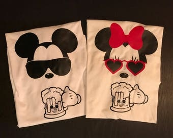 Mickey and Minnie drinking beer / Drinking Around The World / Epcot's Food and Wine shirts / Couples shirt