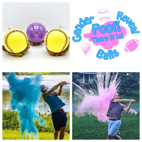 SOFTBALL 2x More Powder over Baseballs Gender Reveal Balls Gender Reveal Baseball