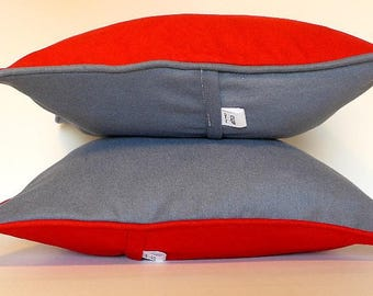 Red Cushion cover front and grey back 40 x 40