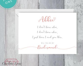 Bridesmaid Request Card - Will You Be My Bridesmaid - Maid of Honour Request Card - Digital Download - Printable Invitation