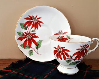 Christmas Bone China Tea Cup Saucer English Tuscan China Poinsettia Pattern Very Elegant Beautifully Hand Painted Free Shipping