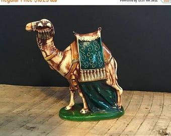 On Sale Ceramic Camel Figurine , Nativity , Glazed , Green , Walking  , Animal Decor , Christmas Decor , Modern , Sleek