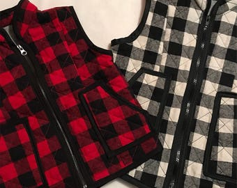 Mommy and Me Buffalo Plaid Vest // Free Shipping