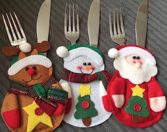Christmas Cutlery Holders - 3 Pack - FREE POSTAGE - Santa Reindeer Snowman Handmade - UK