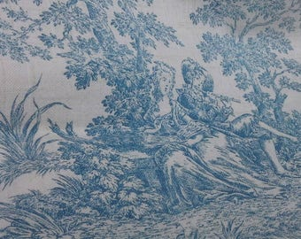 French vintage toile de jouy curtain fabric lengths