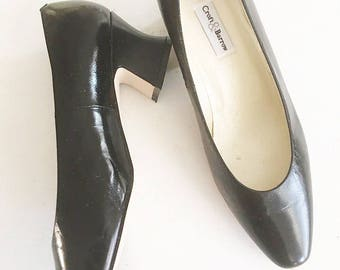 Croft & Barrow Vintage 1990's Black Leather Heels / Secretary Heels / Office Heels / Professional Shoewear