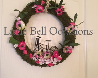 Wreath/Moss Covered Grapevine/Metal Bicycle/Pink/Flowers/Small/Fun/Cool/Hipster/Bedroom/Front Door/Office/ Home Decor/Gift/Garden Feel/Sweet