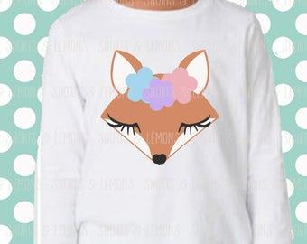 Fox svg, fox face svg, girl fox svg, woodland svg, SVG, DXF files, Deer cricut file, baby svg, girl svg, Floral svg, woodland animals, deer