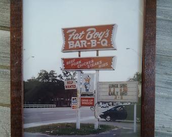 Vintage BBQ advertising - BBQ decor - Vintage Barbecue photo - Restaurant decor, Framed Vintage decor, Vintage advertising, Road advertising