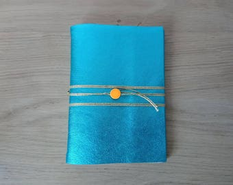 Notebook leather /carnet Blue shiny/gift for Christmas /beau /carnet Wild Woods /carnet travel /carnet note pad