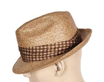 Vintage 60s Mens Straw Fedora Summer Hat Size 7 1/4 Large