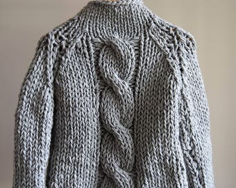 Hand Knitted Chunky Cable Knit Sweater Pullover,Aran Jumper Merino Wool