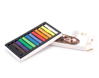 12/24 Colored Square Pastels Temporary Hair Color stick Soft Pastel Drawing Pastel Set
