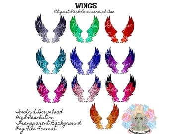 WINGS CLIPART, Wings Clip Art, Angel Wings, Fairy Wings, Digital Wings, Commercial Use Clipart, Clip Art Commercial Use, Instant Download