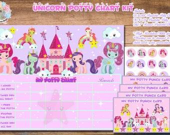 UNICORN POTTY TRAINING Chart, Girl Potty Training Charts, Potty Training, Potty Training Reward, Potty Training Digital, Potty Chart