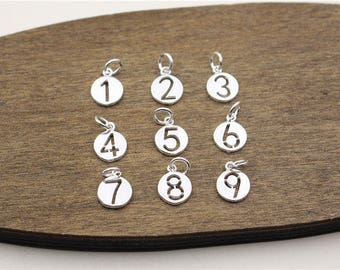 Sterling silver numbers charm,round charm,circle charm