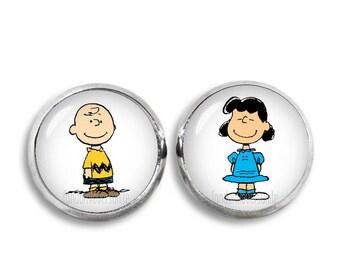 Charlie Brown and Lucy van Pelt Stud Earrings Charlie Brown Earrings 12mm Snoopy Jewelry Fangirl Fanboy Christmas Gift