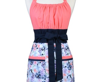 Womens Retro Chef Apron Pink and Indigo Roses Floral Retro Vintage Inspired Kitchen Cooking Hostess Apron with Pockets