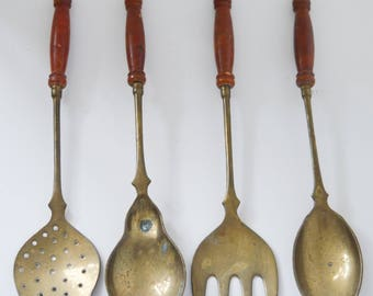 Antique Set of 4 Brass Wooden Handle Kitchen Utensils, Spoon, Skimmer, Ladle, Fork French Country Vintage Kitchen Home Decor Shabby Chic