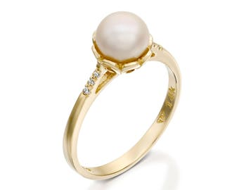 pearl engagement ring, 14k gold pearl ring, White Pearl Ring, Diamond Pearl Gold Ring, Pearl Wedding Ring, pearl bridal ring sets