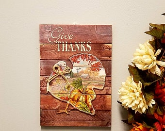 """ESE Wood sign with layer icon, Turkey, ' give thanks', 13.5"""""""