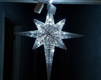 """ESE LED Lighted Christmas Hanging Moravian twinkle Star, Sparkling Silver 24"""""""