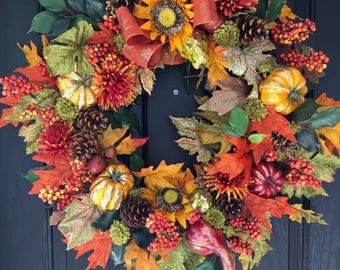 Fall Wreath, Autumn Wreath, Thanksgiving Wreath, Front Door Wreath
