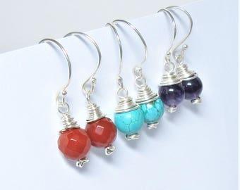 Amethyst earrings, turquoise earrings, silver wirewrapped earrings, carnelian earrings, drop earrings, amethyst dangles, silver earrings