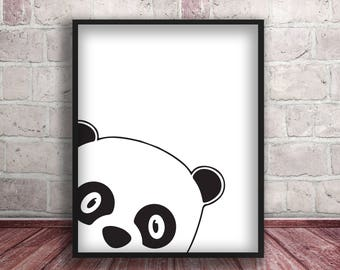 Panda,Animal Poster print,Peekaboo Animal Print,Panda Nursery Print,Nursery Decor ,Wall Art,Home Decor,Instant Download,Panda Printables
