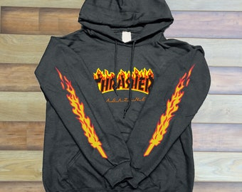 Thrasher Logo Red yellow Balck Sleeves Unisex hoodie front only Graphic hoodie 3
