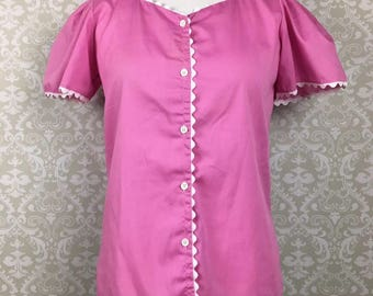 Vintage Lucky Winner Square Neck Button Up Blouse Pink Rick Rack Trim