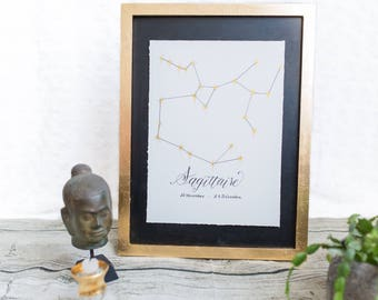 Constellation astrological sign of Sagittarius and calligraphy - original poster - Golden watercolor and ink