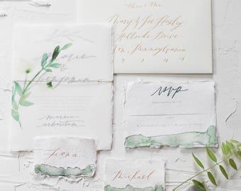 Garden Wedding Invitation, Botanical Wedding Invitation, Rustic, Handwritten Calligraphy, Arboretum Wedding, Plant Illustrations