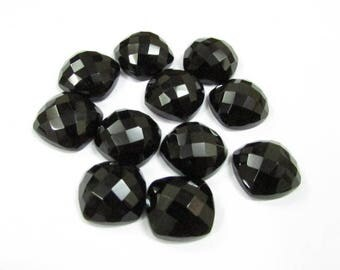 10 pcs Lot 8mm Black Onyx Checker Faceted Cushion Bottom Flat Gemstone, Black Onyx Cushion Faceted Checker Cabochon Gemstone