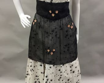 Black Sheer Hostess Apron with Pink Flowers | Hostess Apron | Housewarming Gift | Party Apron | Extra Large Size 14+