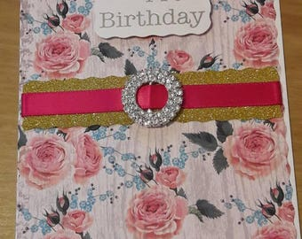 Handmade Birthday Card with embellishments diecut shapes and floral design, envelope Retro blank card diamante ribbon details
