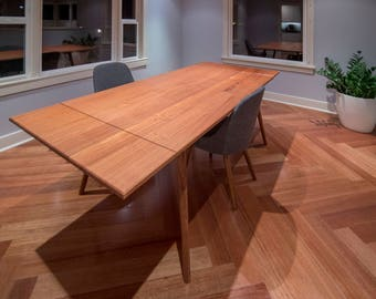 Mid Century Modern Design Extendable Jatoba Dining Table