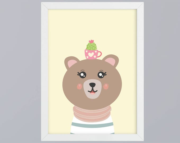 Mrs bear with Cactus - unframed art print
